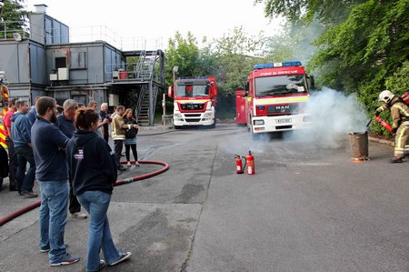 Lifeboat crew learning how to use extinguishers