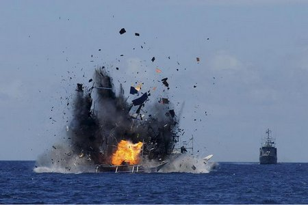 vessel being blown up by Indonesian Navy